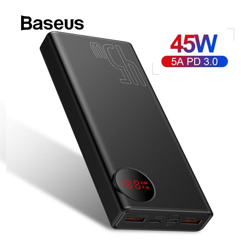 Baseus 20000mAh Power Bank 45W USB PD Fast Charging Powerbank for iPhone 11 Pro Max Xiaomi