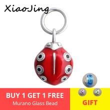 XiaoJing 925 sterling silver beads cute beetle animal charms with red enamel  fit authentic pandora charms bracelets  diy jewlry зеркало evoform ledline 70х75 см с 2 мя встроенными led светильниками 10 5 w by 2116