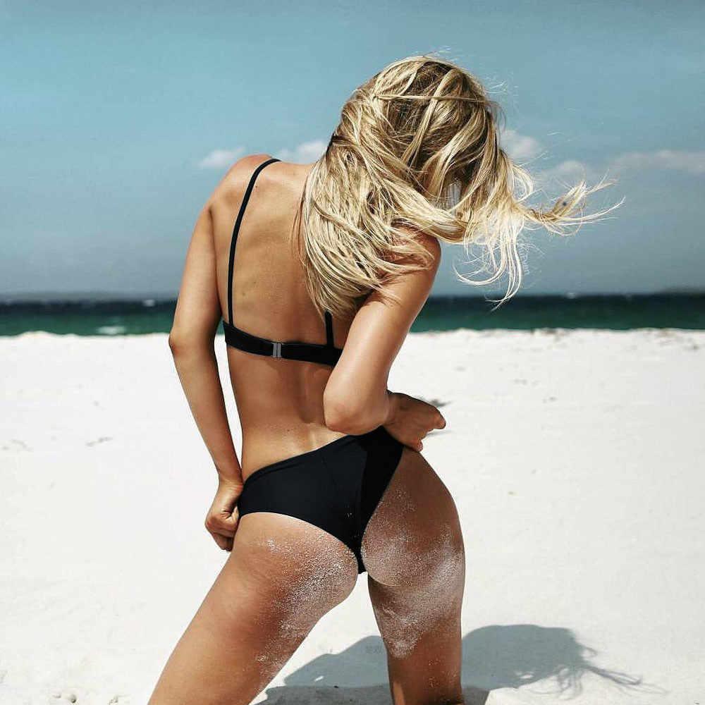 Seksi Thong Bikini Set Wanita Brasil Empuk Push Up Baju Renang Warna Solid Sling Baju G String Swimsuit Beachwear # T