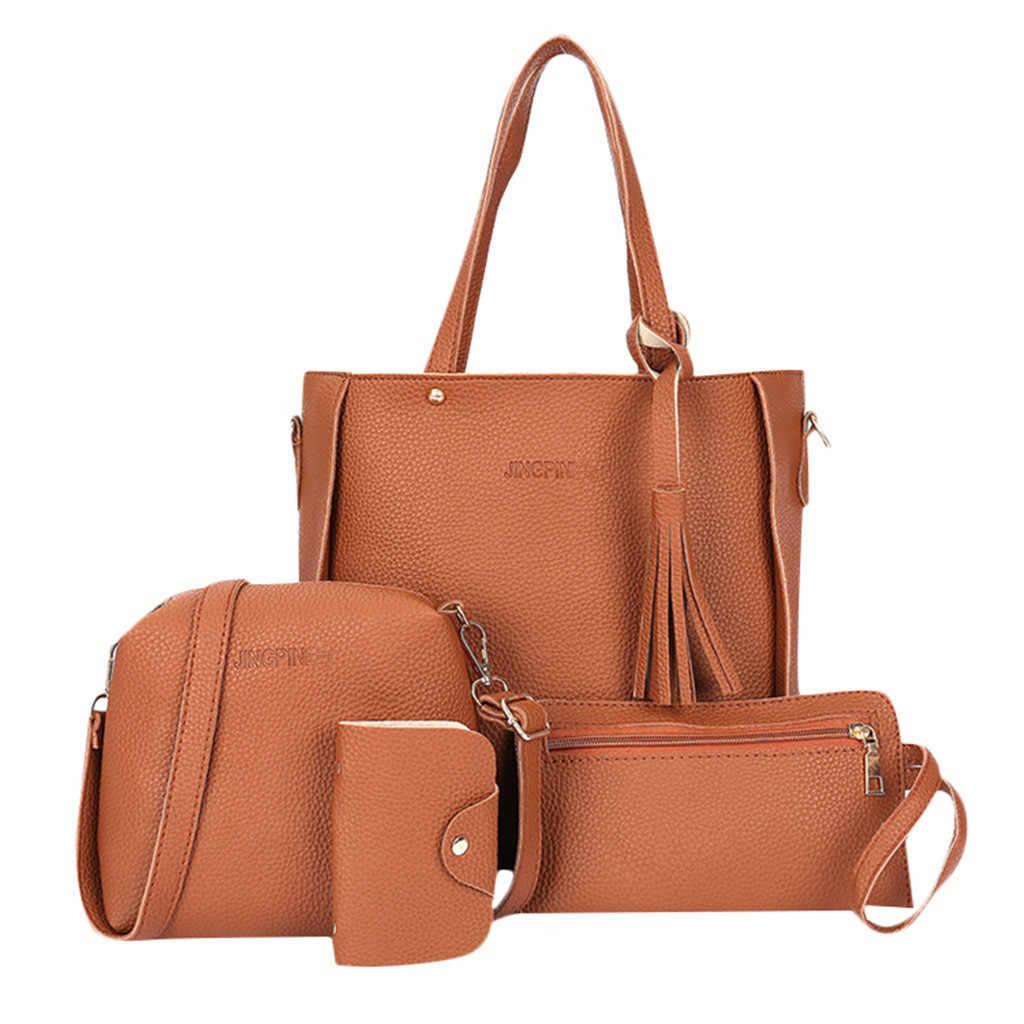 Femme sac 2019 nouvelle mode quatre pièces épaule sac de messager portefeuille Composite sac à main élégant anti-vol Composite sac de voyage