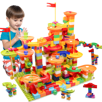 2020 Newest Marble Race Run Maze Ball Tracks Building Blocks Big Size DIY Funnel Slide Bricks Toys For Children Gifts