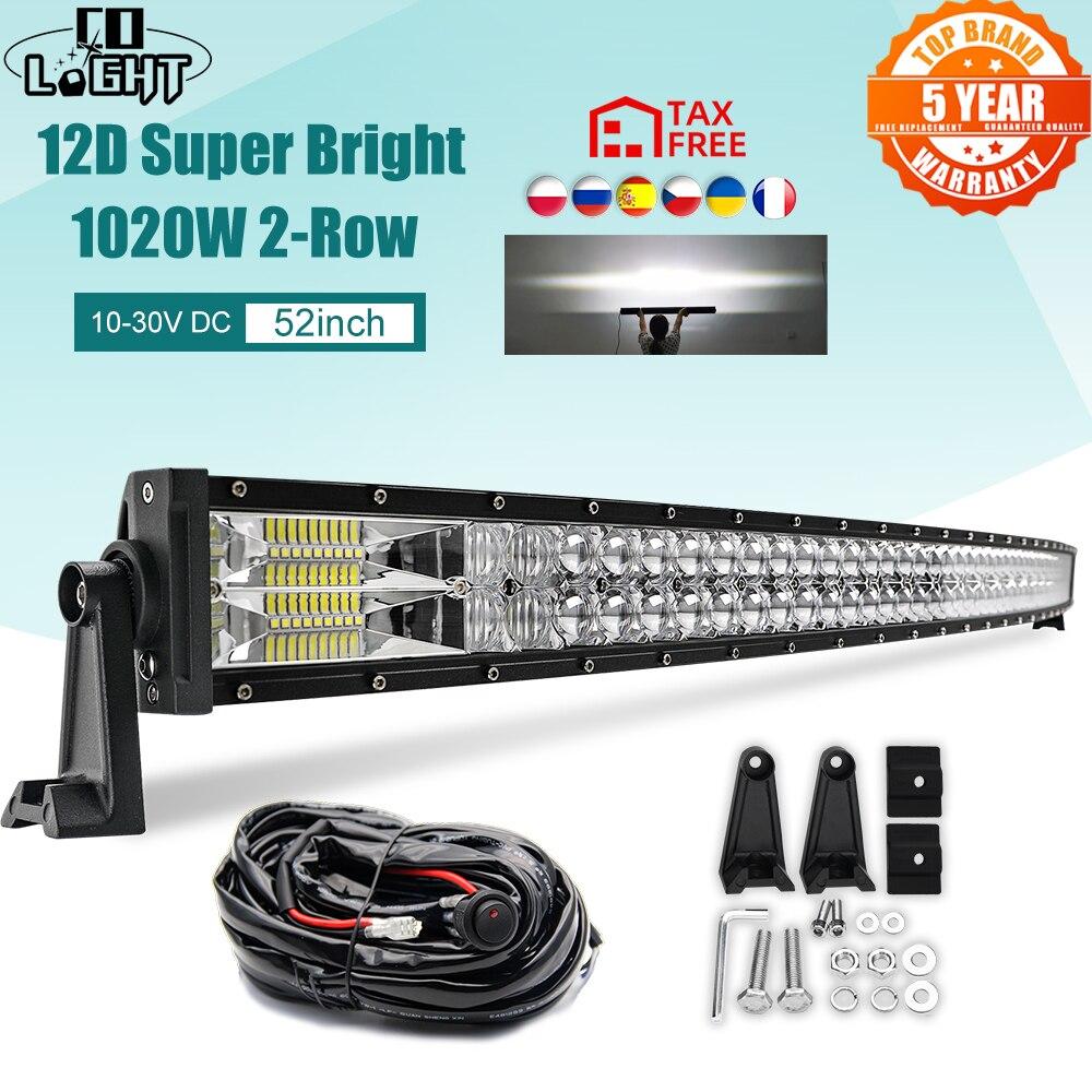 Światło CO zakrzywione światła Led 12V 52 cal 1020W Led światło robocze 2-rząd wiązka kombi dla samochodów 4WD ATV SUV UTV samochodów ciężarowych 4x4 motocykl 24V