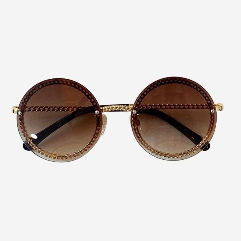 Cadeia rodada Óculos De Sol de Marca Designer de Alta Qualidade Shades Oculos de sol Feminino Da Forma Do Vintage com Caixa de Embalagem - 4