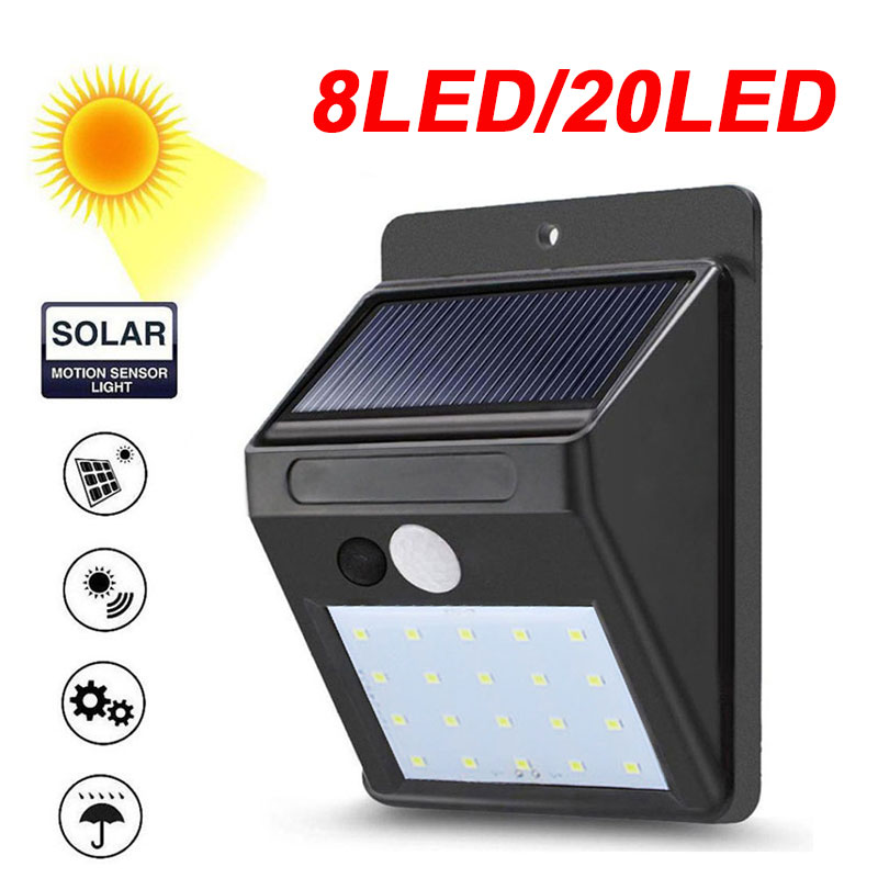 Eco-Friendly Street Lamp Yard Outdoor Lighting Energy Saving Solar Power 8/20 LEDs Waterproof Door IP65 Induction Light