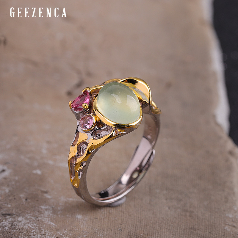 925 Sterling Silver Gold Plated Prehnite Zircon Ring Luxury Trendy Handcraft Gemstone Rings Women Fine Jewelry Engagement Gift