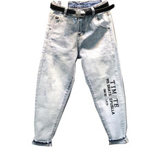 plus size 26-31! spring new letter printed jeans women high waist loose straight ankle length