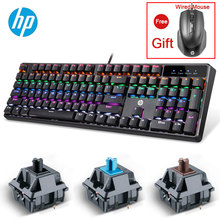 Original HP Mechanical Keyboard Laptop Computer Gaming Cherry Switch offer wired Mouse for gift 104 Keys Keyboards Freeshipping