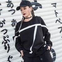 White Black Hit Sweatershirts 2019 Korean Fashion Ladies Punk Tops Tees Womens Autumn T Shirts Vintage Female Clothes SA423S30