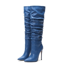 New Fashion Women Shoes Boots Knee High Winter  Pointed Toe Pleated Heel Big Size Blue Red Black