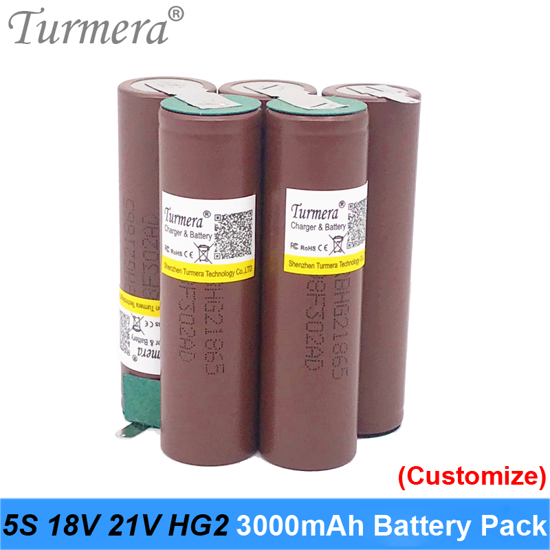 Turmera 18650 Battery 5s 18v Welding 18650 HG2 30A 3000mah Battery for 18V Screwdriver Battery and Vacuum Cleaner Customized oct image