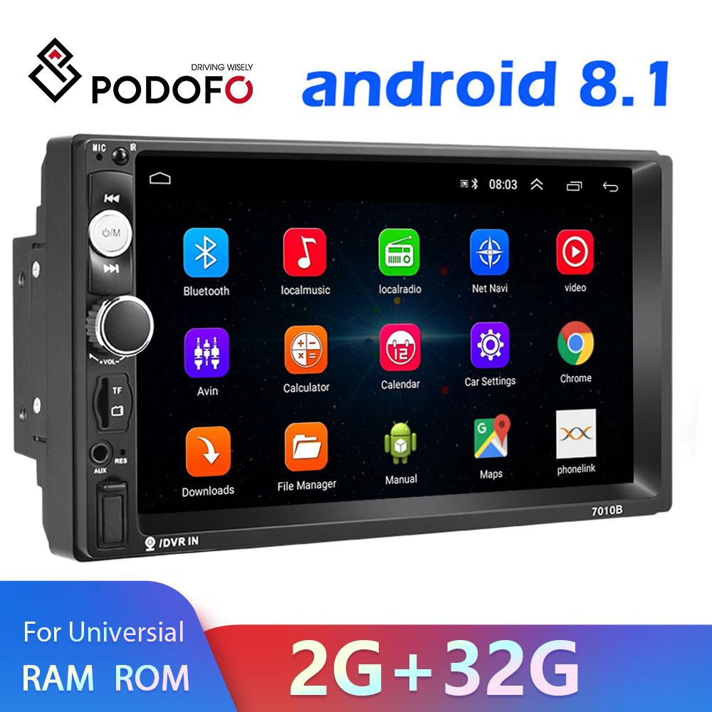 Podofo Android 8.1 2 Din Car radio Multimedia Video Player 2 din 7″ Universal auto Stereo Autoradio WIFI Bluetooth GPS Audio Mirrorlink Touch Screen MP5 Player For Volkswagen Nissan Hyundai Kia toyota
