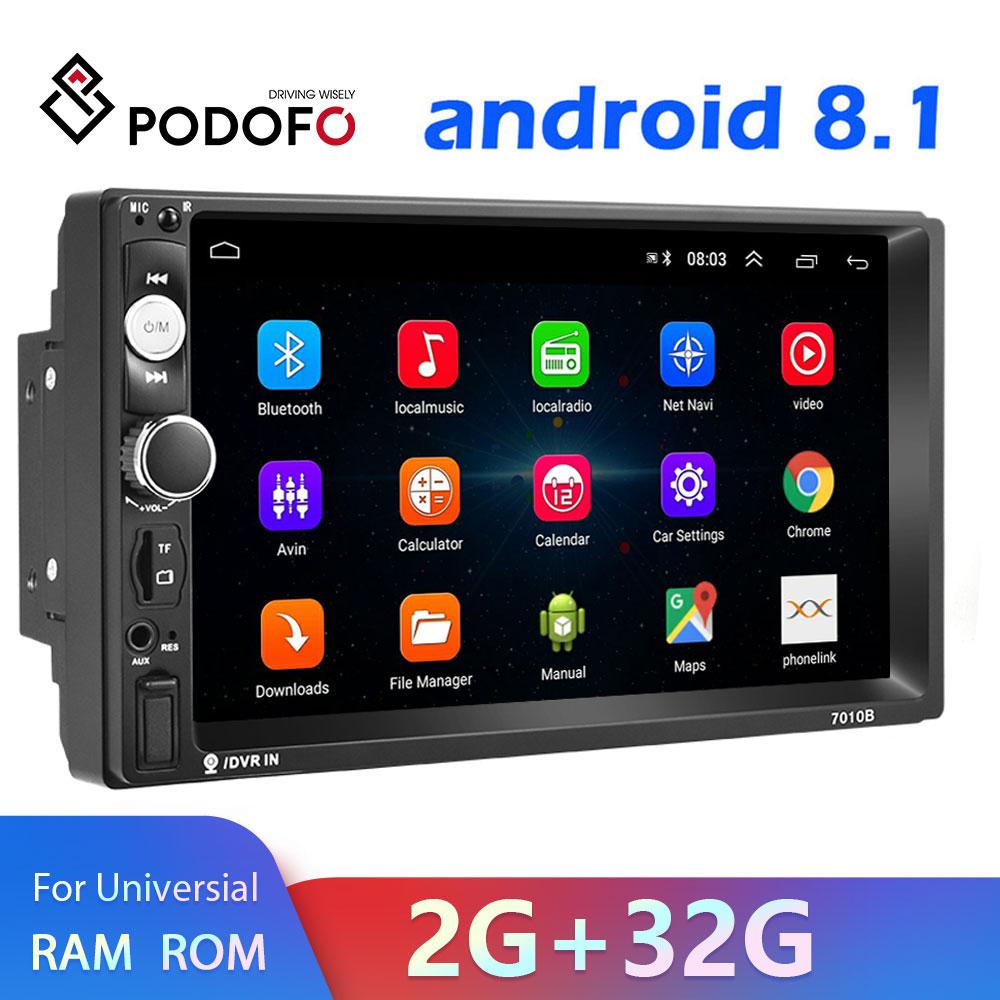 Podofo android 8.1 2 din rádio do carro reprodutor de vídeo multimídia 2 din 7