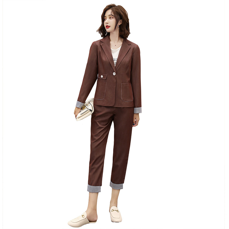 Women's suit 2019 autumn new casual fashion temperament Slim solid color single buckle small suit trousers two-piece 27