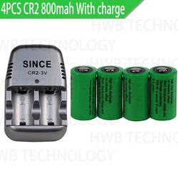 4pcs 15270 CR2 800mah rechargeable battery +3V CR2 charger, digital camera, made a special battery