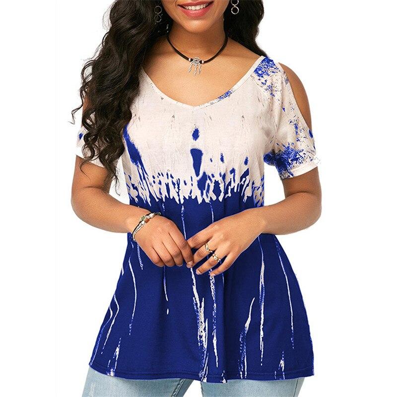 2020 женская летняя футболка с v-образным вырезом и коротким рукавом, Повседневная Уличная свободная футболка, сексуальные футболки с принтом...