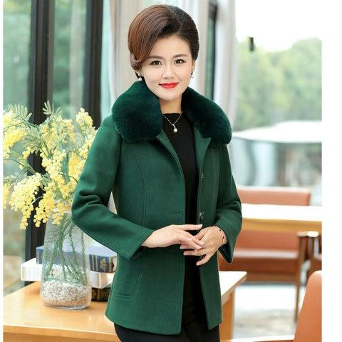Winter Women Wool Blend Pea Coats Green Purple Red Thick Warm Fur Turn Down Collar Tweed Jacket Mature Women Elegant Peacoat 4XL Lahore