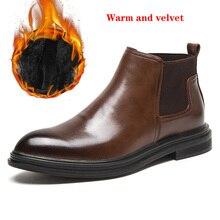 Winter Shoes Snow-Boots Men Warm Brand Ankle Microfiber Handmade