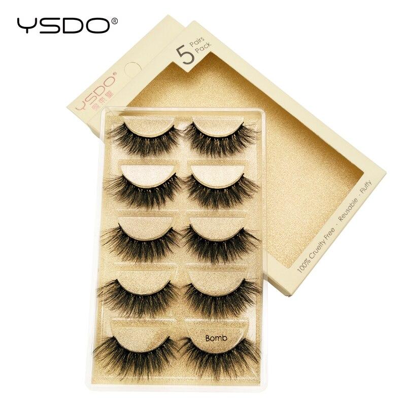 YSDO 5 Pairs Eyelashes Makeup Mink Strip Lashes Dramatic Eyelashes Faux Cils Natural False Eyelashes Extension 3d Mink Eyelashes