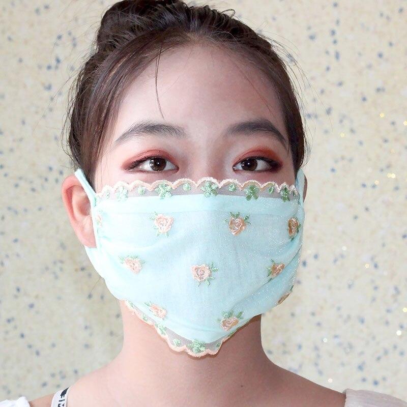 1 шт., Женская Солнцезащитная кружевная маска с цветочным принтом, дышащие маски для рта с вышивкой, модные милые женские чехлы для рта