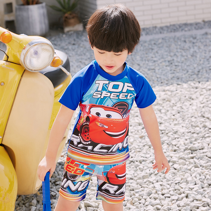 2019 New Style McQueen Cartoon Car Split Type KID'S Swimwear BOY'S Swimsuit With Swim Cap Children Baby