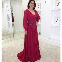 Plus Size Burgundy Mother Of The Bridal Gowns Muslim Evening Dresses Dubai Prom Dresses 2020 Long Formal Gala Dress