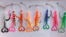 40pcs Assist Hooks With Squid Skirts,Inchiku Jig Assist Hook,octopus jigs assist hook, squid jig hook, suitable for inchiku jigs 1pc 50g 1 8oz salty rubber jigs bottom madai jig with rubber hook squid trolling fishing lures snapper jigs