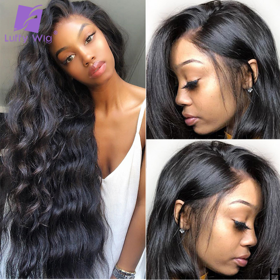 Luffy Real 250% Density 5*4.5 Silk Base Lace Front Wigs Body Wave Brazilian Human Hair Remy Natural Pre Plucked Hairline
