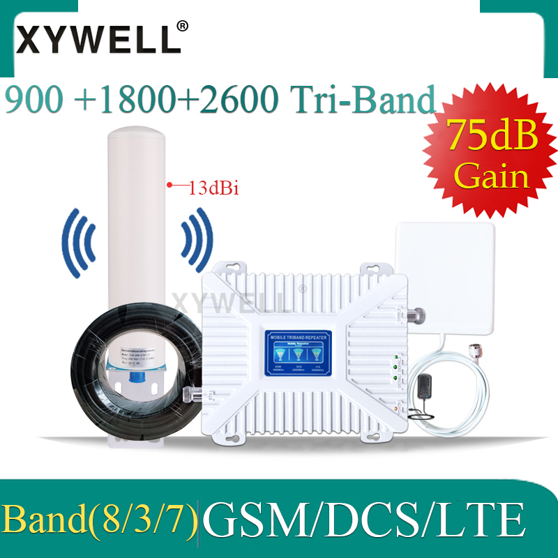 Repeater 4g 900 1800 2600 Mhz Gsm Signal Booster GSM DCS LTE 2G 3G 4G Tri-Band Gsm Amplifier GSM Cellular Mobile Signal Booster