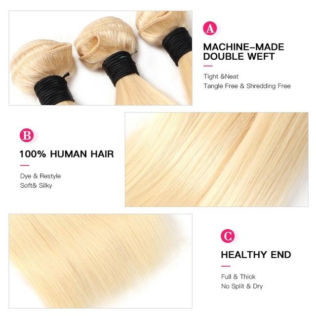 Facebeauty, 613 Rubio, 1/3/4, paquete de pelo brasileño, tejido recto, trama de cabello humano Remy, 26 28 30 32 34 36 38 40 pulgadas, Envío Gratis