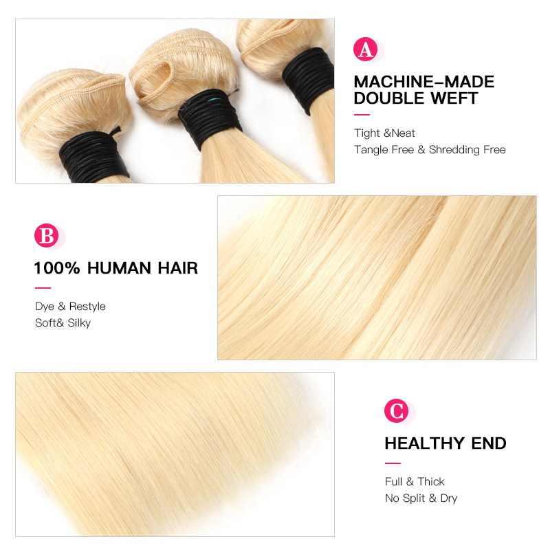 Facebeauty 613 blond 1/3/4 brazylijski wiązki włosów prosto splot Remy ludzki włos wątek 26 28 30 32 34 36 38 40 cal darmowa wysyłka