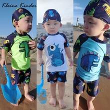Boy Baby Swimwear Dinosaur Swimming Suit for Boys Short Sleeves Toddler Kids Children's Swimwear Beach Clothes Bathing Suit 3pcs