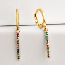 Small Hoop Earrings Women Colors Cubic Zircon Paved Rainbow Charm Pendant Jewelry Aretes Dainty Huggie Gold Color Earring Stick