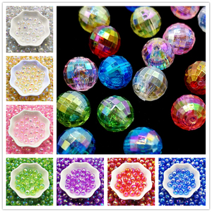 6/810mm Transparent Electroplated Beads AB Color Facet Acrylic Beads Loose Spacer Beads for Jewelry Making DIY Bracelet