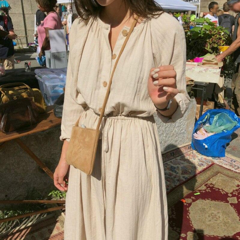 Vintage Summer Long Shirt Dress Women Cotton Round Collar Slim Waist Drawstring Solid Color Sundress With Buttons
