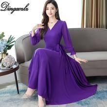Dingaozlz New Casual Chiffon Dress Plus Size Lady Dresses Autumn 2019 Long sleeve Women dress Bow tie Vestidos