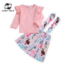 2Pcs Newborn Baby Girl Clothes Long Sleeve Romper Top+floral Strap Dress+Headband Toddler Baby Clothing Autumn Cute Outfits Set new 2013 spring autumn baby clothing kids romper baby long sleeve romper newborn baby girl cute footsies overalls baby wear