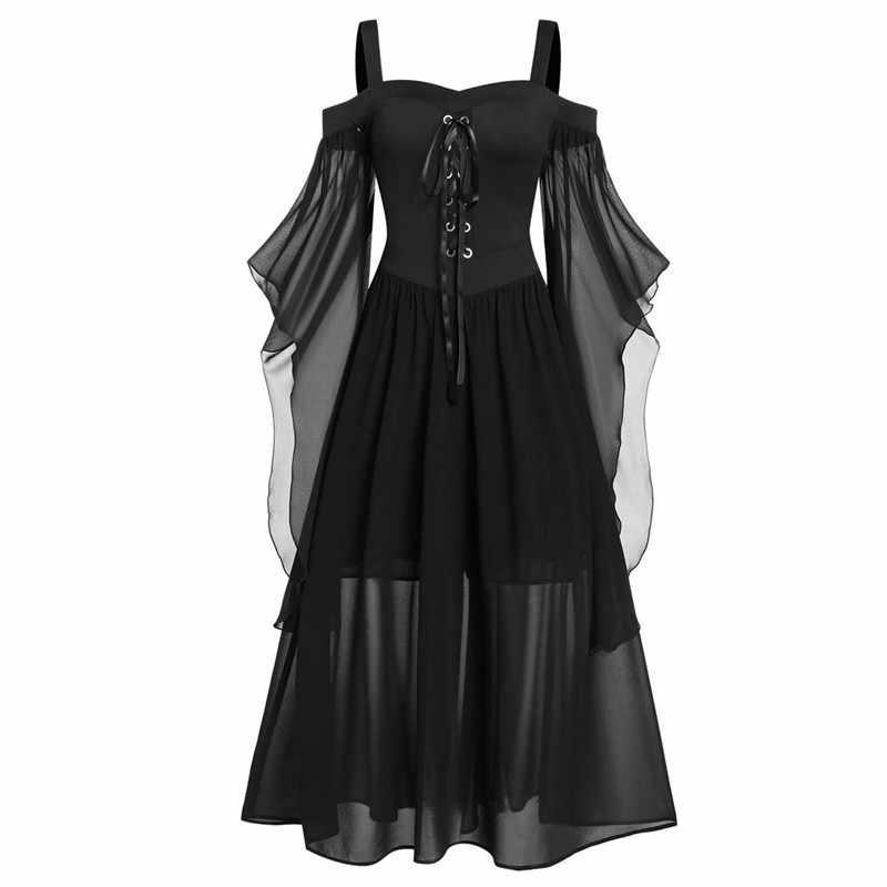 Vestido de Halloween para mujeres de talla grande gótico Vintage malla Sling sin tirantes Vestido de manga de mariposa vestido con cordón vestido de fiesta de otoño 7