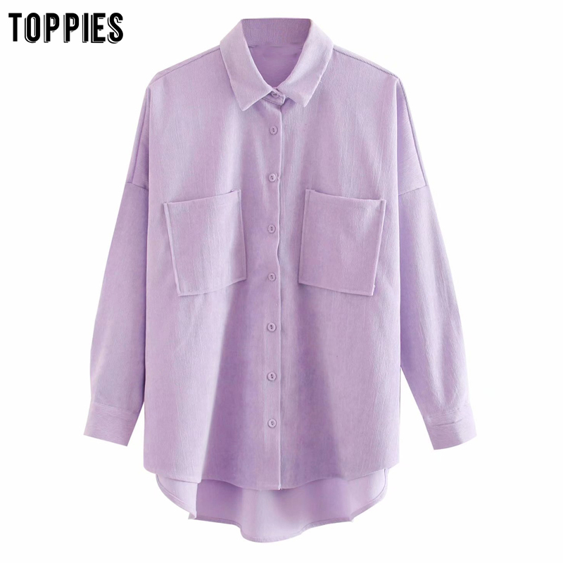 Toppies 2020 New Violet Shirts Boyfriend Style Women Tops Plus Size Overszied Shirts Vintage Corduroy Blouses