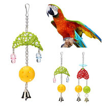 Pet Hanging Swing Toy Bird Moon-shaped Rattan Woven And Bells Small Parakeet Cages Decorative Accessories(China)