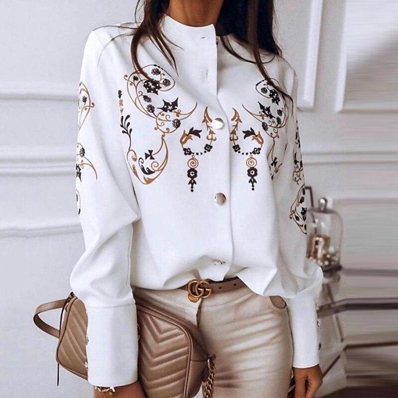 Metal Button Small Stand Collar Long Sleeve Shirt