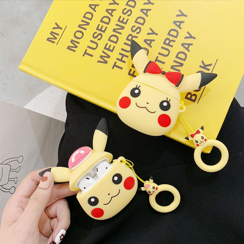 Fragment & Pokemon Thunder Dark <font><b>Pikachu</b></font> Earphone <font><b>Case</b></font> For Apple Wireless Bluetooth Headset <font><b>Airpods</b></font> 2 Cute Cartoon Silicone Cover image