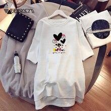 Summer Women Dresses Minnie Mickey Cartoon Print Fashion Loose Clothing Plus Size Harajuku Mini Dress Vero Club Black