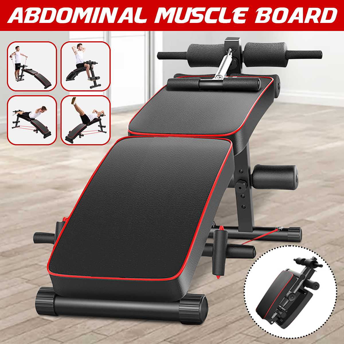 Home Multifunction Folding Sit up Bench Pulling Rope Exerciser Trainer Steel Frame Ab Abdominal Benches Fitness