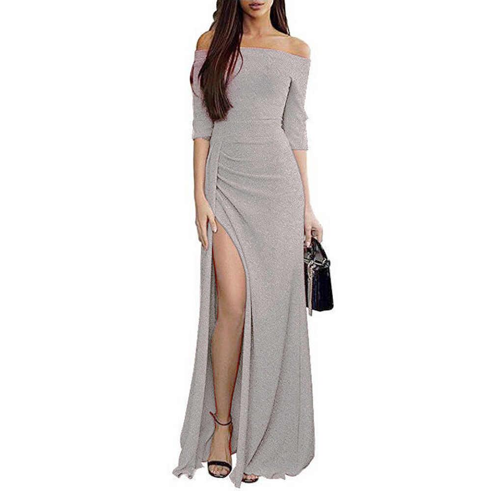 2020 moda sexy feminino hip-envolto vestido de gola de uma palavra vestido brilhante vestido de jantar vestido e saia longa