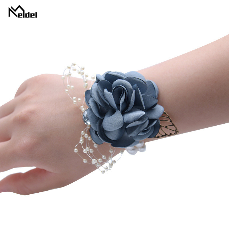 Meldel Silk Wedding Flowers Brooches Boutonniere Buttonhole Wrist Corsage Bracelet For Bridesmaid Wedding Marriage Groom Corsage
