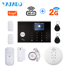 цена на YAJADO Tuya WiFi GSM Alarm System 433Mhz Wireless Home Security Burglar Alarm Fire Smoke Detector Android&iOS APP Remote Control