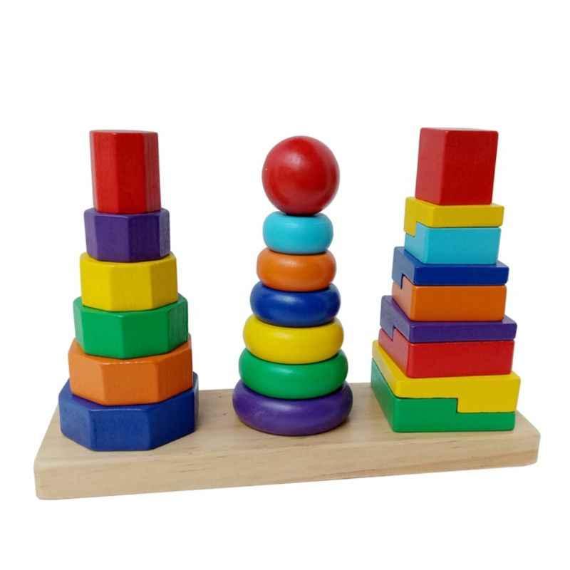 เด็กของเล่นเพื่อการศึกษา 3-สีรุ้งชุดไม้สามคอลัมน์ Tower เด็กปริศนาของเล่น