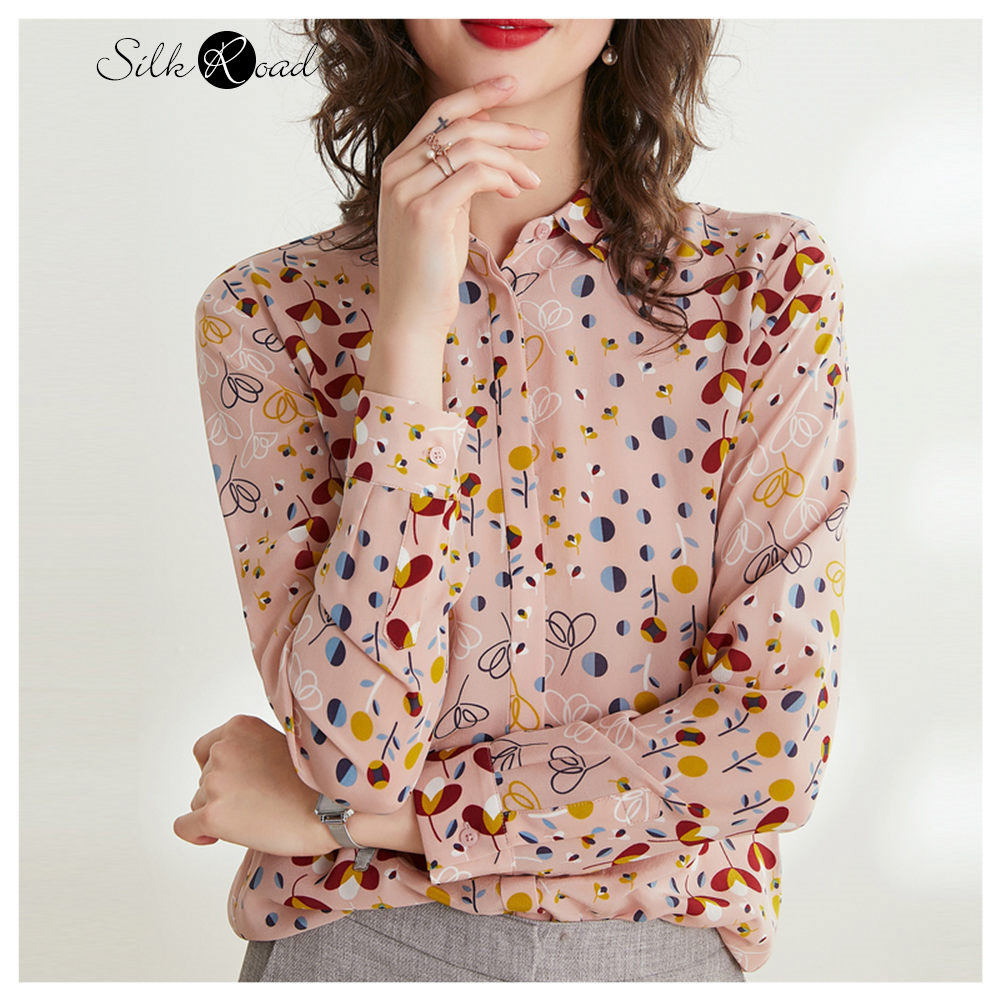 Silviye Floral Silk Shirt Women's Long Sleeve Mulberry Silk Fashion Floral Foreign Style Top 2020 Spring Small Shirt