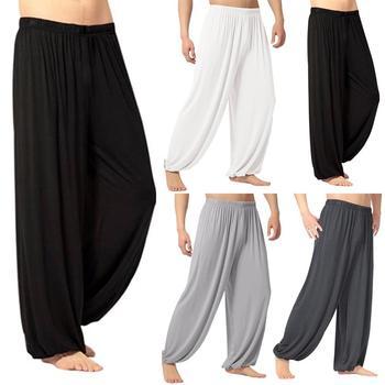 Yoga Pants Men's Casual Solid Color Baggy Trousers Belly Dance Yoga Harem Pants Slacks sweatpants Trendy Loose Dance Clothing