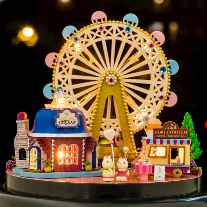 DIY Wooden Dollhouse Kit Miniature Ferris Wheels Model Toy With Glass Dust Cover